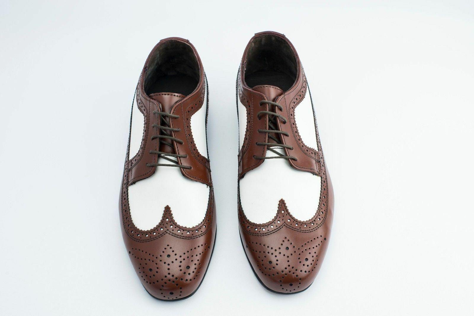 Nuevo-blancoo y Marrón Estilo Vintage, Suela de Cuero zapatos de punta del ala espectador hecho a mano