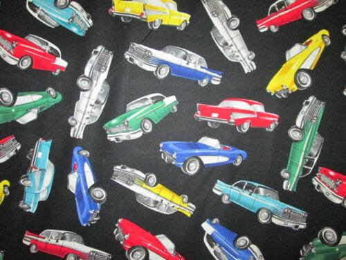 50/'s RETRO CARS CLASSIC VINTAGE VEHICLES BLACK COTTON FABRIC FQ