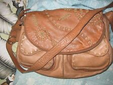 """LUCKY BRAND USED TAN LEATHER LG 12x10"""" SHOULDER BAG DROP 21"""""""
