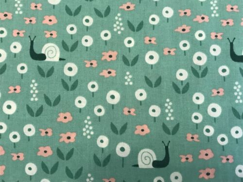 Green FQ Fat Quarter Fabric ORGANIC Snails Flowers 100/% Cotton RARE