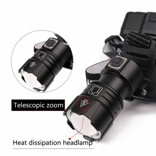 Details about  /Powerful 150000LM XHP70 LED Headlamp Zoom Headlight Rechargeable Fishing Lamp