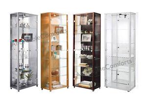 Double-2-Door-Glass-Display-Cabinet-Beech-Silver-Wenge-Oak-White-Black