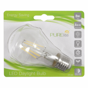 8w LED 87/% Less Energy PURElite Bulb Natural Daylight Screw Fitting