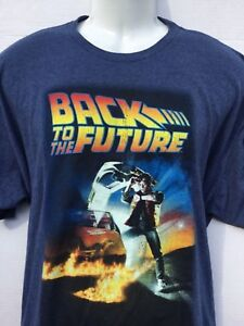 8fb81570b Back to the Future Marty McFly Movie Poster Graphic Tee blue t shirt ...