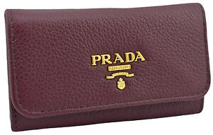 295-PRADA-bordeaux-cuir-Vitello-Grain-cles-etui-Porte-Bague-nouvelle-collection