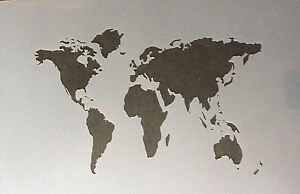 World map a4 mylar reusable stencil airbrush painting art craft ebay image is loading world map a4 mylar reusable stencil airbrush painting gumiabroncs Choice Image