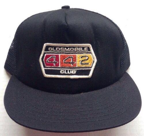 1970s 1980s OLDSMOBILE 442 4-4-2 TRUCKER BASEBALL CAP HAT VINTAGE BLACK MESH