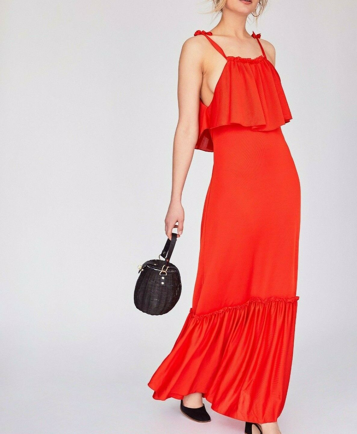 Free People rot Coco Flounced Popover Maxi Dress M  New with tag MSRP