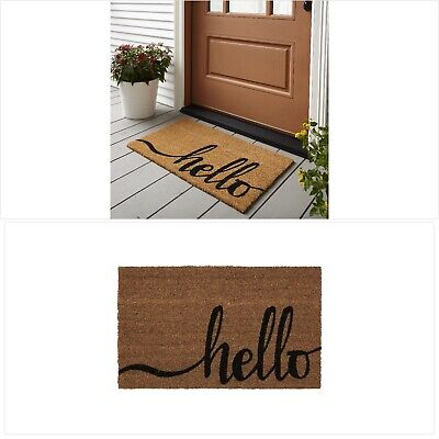 "Mainstays Hello Coir Outdoor Doormat 18/"" x 30/"" Natural and Black"