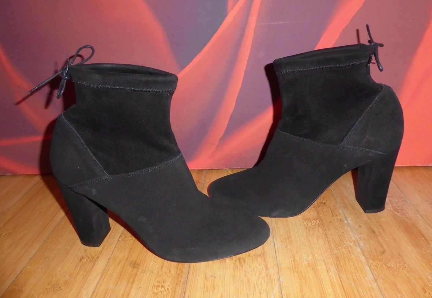 34 SUPERB FAITH BLACK LEATHER SUEDE VICTORIAN  HEEL ANKLE BOOTS  UK 7 EU 40