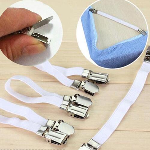 4Pcs Adjustable Bed Sheet Corner Holder Elastic Straps Fasteners Clips KV