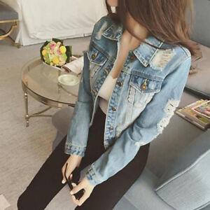 Women-039-s-Fashion-Long-Sleeve-Ripped-Hole-Denim-Jacket-Coat-Short-Jacket-Outwear
