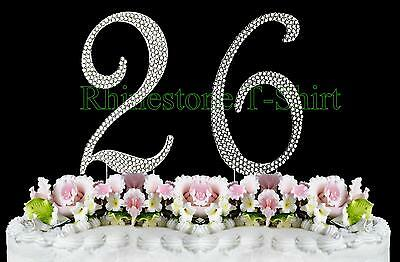 Strange Large Rhinestone Number 26 Cake Topper 26Th Birthday Wedding Funny Birthday Cards Online Necthendildamsfinfo