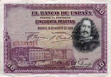 Spanien / Spain 50 Pesetas 1928 Pick 75b (3+)