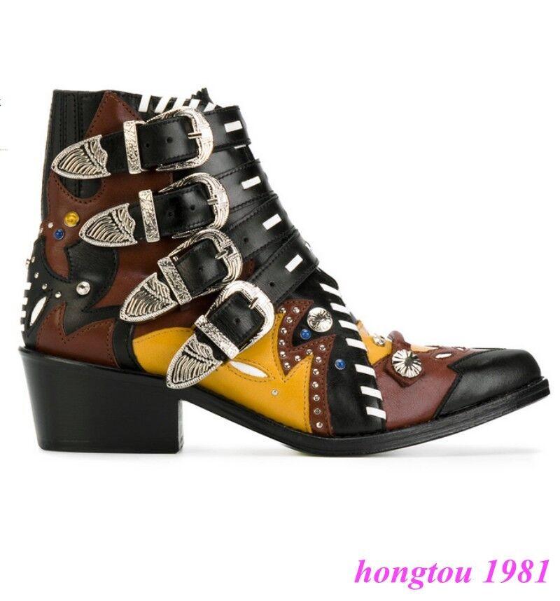 Zapatos de Cuero Mujer De Zapatos de tacón Chelsea Botas al Tobillo Cubano De Mujer Combate Hebilla Punk Western 2c659d