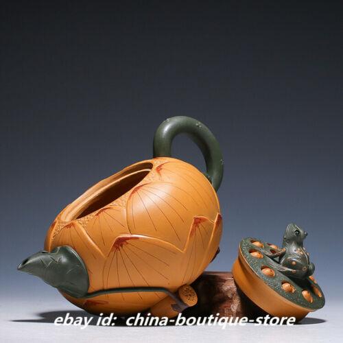 China Yixing Zisha Pottery 420cc Duan Clay Teapot Handmade Frog Lotus Pot 青蛙莲子壶