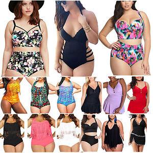 1d02dd8ee290e Womens High Waist Tassel Plus Size Push Up Swimsuit Bikini Padded ...