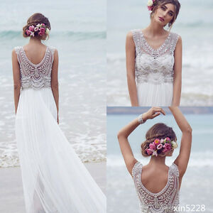 Boho Wedding Dresses 2018 A-Line Beach Chiffon Crystals Bead ...