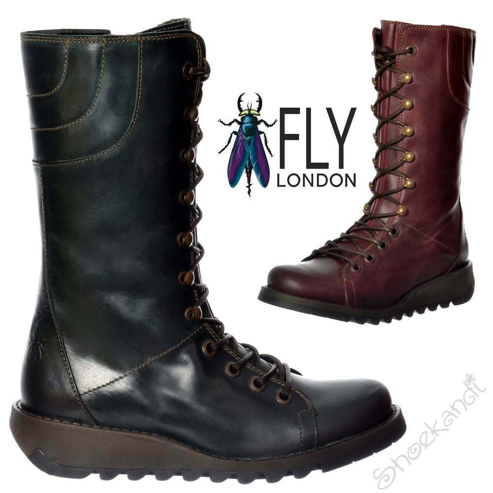 Damen FLY LONDON Ster 786 Lace Voll Leder Militär Kampfstiefel