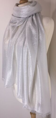 NEW Silver White Metallic Scarf Pashmina Sparkly Shimmer Soft Oversized Weddings