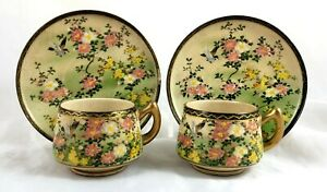PAIR-OF-19th-CENTURY-JAPANESE-SATSUMA-HAND-PAINTED-CUPS-amp-SAUCERS