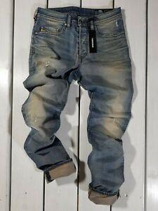 NUOVI-Jeans-Diesel-Uomo-Buster-0845F-Regular-Slim-Tapered-Stretch-Blu-dirtywash