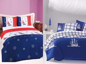Image Is Loading Blue Nautical Duvet Cover 100 Cotton Bedding