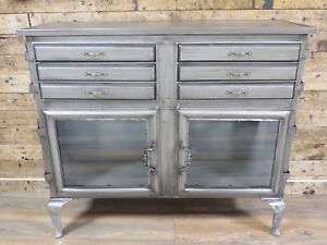 Silver-Industrial-Storage-Cabinet-6-Drawer-2-Cupboard-Sideboard-Chest-Table-Unit