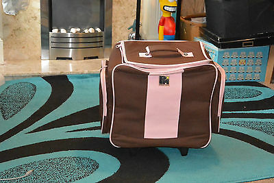 Papermania Wheelable Craft Tote Pink & brown