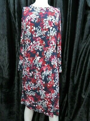 NEW M/&S RED FLORAL PRINT BODYCON MIDI DRESS SIZE 8-20 SMART WORK