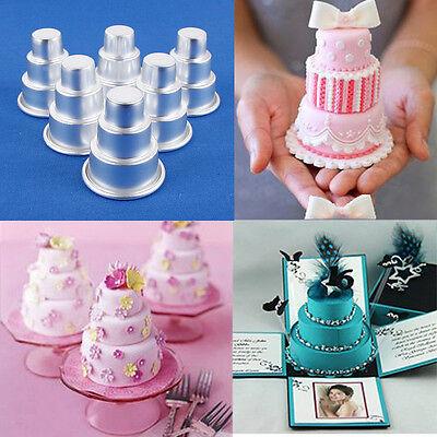 6X 3-Tier Cake Mini Tin Pan Cupcake Baking Mold Fondant Sugarcraft Decorating F8