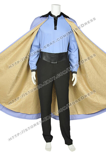 Star Wars Episode VII 7 Lando Calrissian Cosplay Costume Suit Cloak Shirt Pants