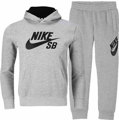 NIKE SB Boys Kids Fleece Tracksuit Crew Jumper Joggers Grey (#11180)