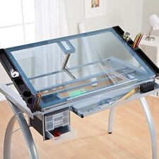 Drafting Table Craft Station With Glass Top Drawing Desk Art Work Station  Artist