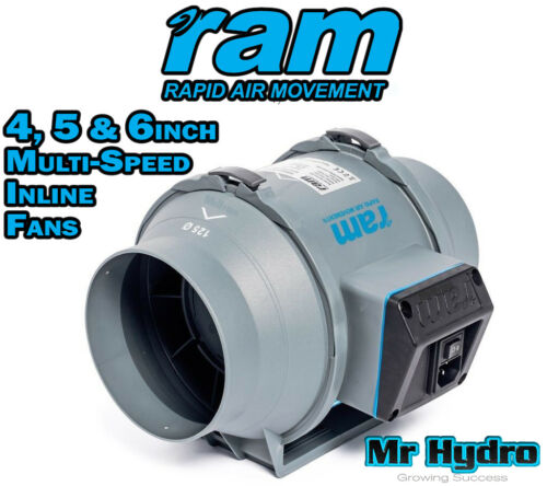 RAM Mixed Flow Hydroponic Grow Room Inline Fans 100mm 125mm /& 150mm