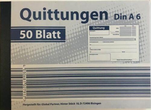 Quittungsblöcke Quittungsblock Quittung DIN A6 50 Blatt