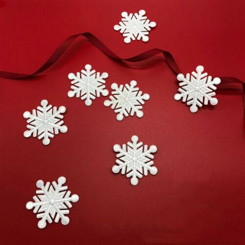 5x Schneeflocken Patch Aufbügler Weihnachten Beutel Kleidung Flicken Applikation