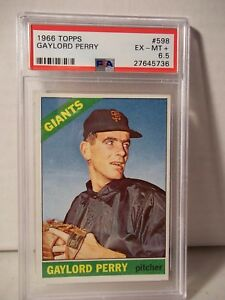 1966-Topps-Gaylord-Perry-PSA-EX-MT-6-Baseball-Card-598-MLB-HOF-Collectible-SP