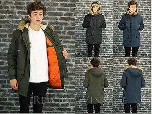 Parka Coat Jacket Mens Boys Parker Black Green or Navy Mod Style ...