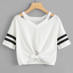 Donna-Corto-T-Shirt-Manica-Corta-Girocollo-Casual-Maglia-Maglia