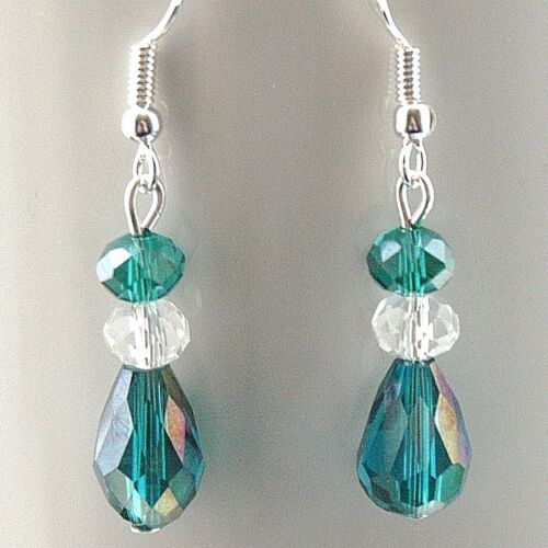 Crystal Earrings with 925 Sterling Silver Hooks Green /& Clear New LB311