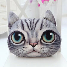 3D Cute Cat Face Soft Throw Pillow Case Cover With Zipper Cushion Toy Doll Gifts