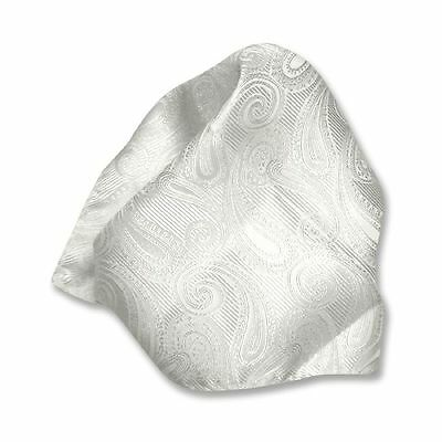 Off White Paisley Handkerchief Pocket Square Hanky Men's Handkerchiefs