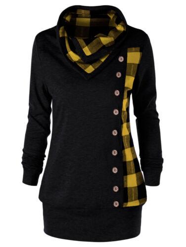 Womens Plus Size Plaid Turtleneck Sweatshirt Long Sleeve Tunic Casual Coat Tops