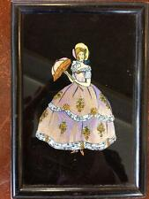 Antique Art Deco Real Exotic Butterfly Wing Picture Crinoline Lady 11.5cm x 16cm