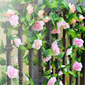 Fine-Garden-String-Decor-Artificial-Rose-Garland-Silk-Flower-Vine-Ivy-G9A