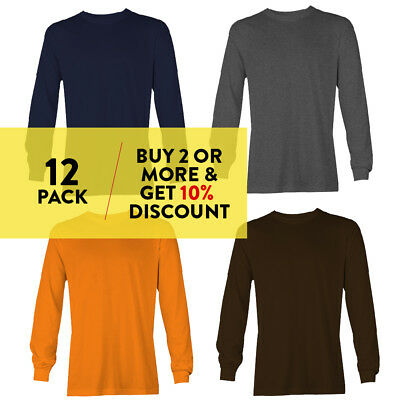 12 PACK AAA ALSTYLE CASUAL MENS LONG SLEEVE T SHIRT PLAIN SHIRTS COTTON TEE WORK