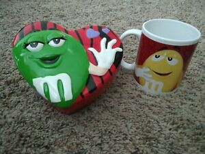 M&M's Collectors Galerie Ceramic Valentine Heart-Shaped Container and Coffee Mug