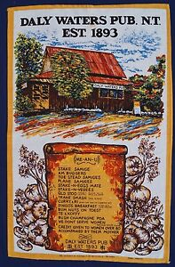 Vintage-Retro-Unused-LINEN-COTTON-Tea-Towel-DALY-WATERS-PUB-Funny-Rules-Souvenir