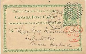 Canada 1885 QV two cents VERDE GA-cartolina N. Inghilterra DUPLEX-stpl. Londra Canada